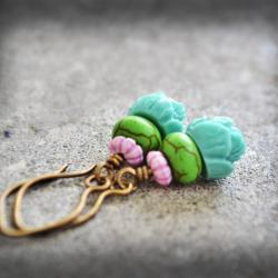 Lotus Flower Earrings Teal Seafoam Green Purple Dyed Turquoise Stone Antiqued Brass Dangle Bohemian Gypsy
