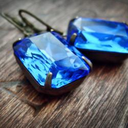 Sapphire Earrings Blue Earrings Vintage Glass Rhinestone Earrings Mad Men Fashion Statement Earrings Aged Brass September Birthstone